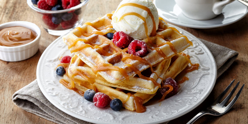 Wholegrain Waffles with Agave Syrup